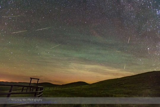 Perseid Meteors by Alan Dyer, Aug. 12, 2016