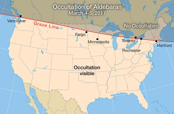 Aldebaran occultation March 2017 map