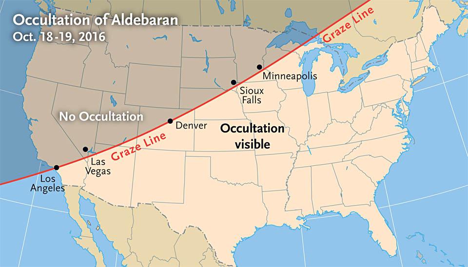 Aldebaran occultation map (Oct. 2016)