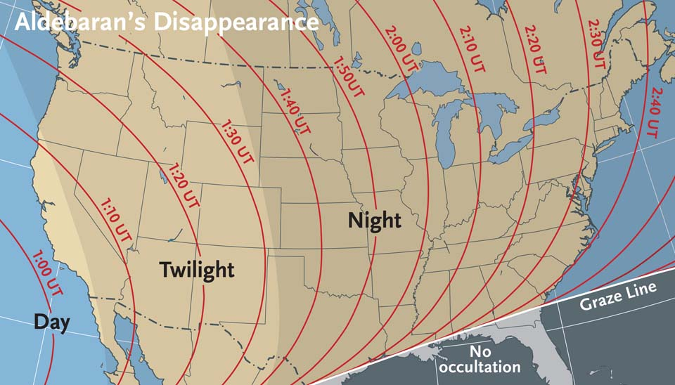 When to view Aldebaran's disappearance