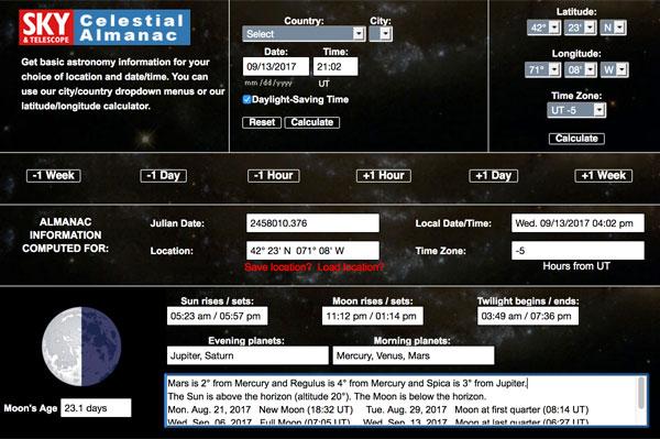 Sky & Telescope's astronomical almanac
