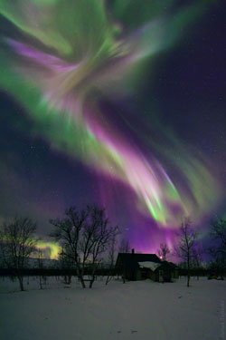 Angel-shaped aurora borealis