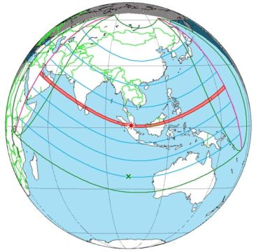 Global track of December 2019 annular solar eclipse