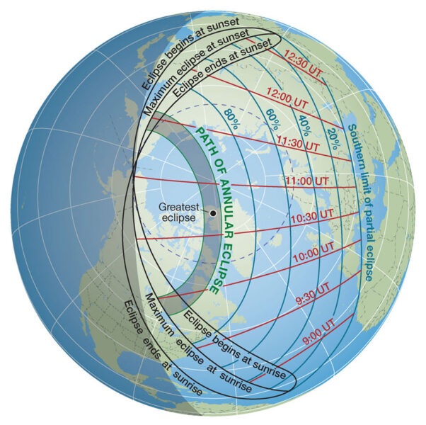 Annular solar eclipse path on June 10, 2021