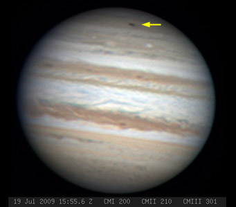 This image, taken by Anthony Wesley, a well-known Australian astrophotographer and planetary observer, shows a dark marking strikingly similar to the ones left when Comet Shoemaker-Levy 9 crashed into Jupiter in 1994.