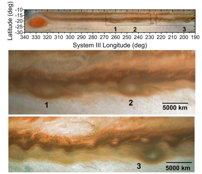 Anticyclones heading for the Great Red Spot