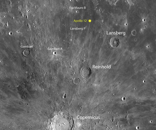 Apollo landing sites: Apollo 12 meets Surveyor 3