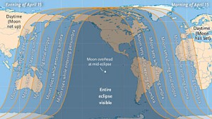 Where to see April 15th's total lunar eclipse