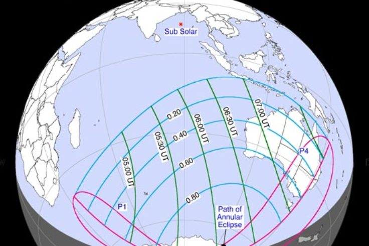 Path of April 29th's annular solar eclipse