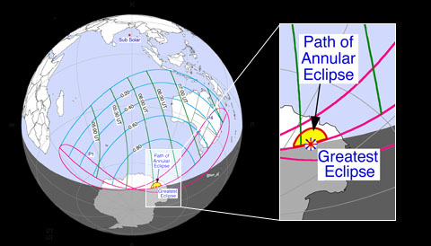 Path of April 29th's annular solar eclipse