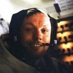 Neil Armstrong in the Apollo 11 lunar module Eagle, July 1969.