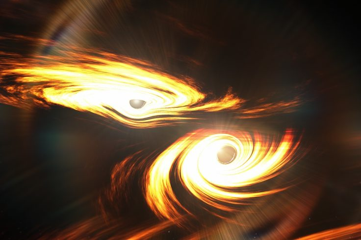 An artist's impression of the collision of two black holes