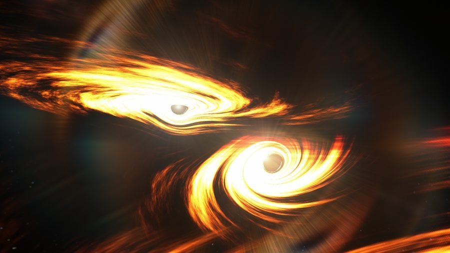 Black hole collision (art)