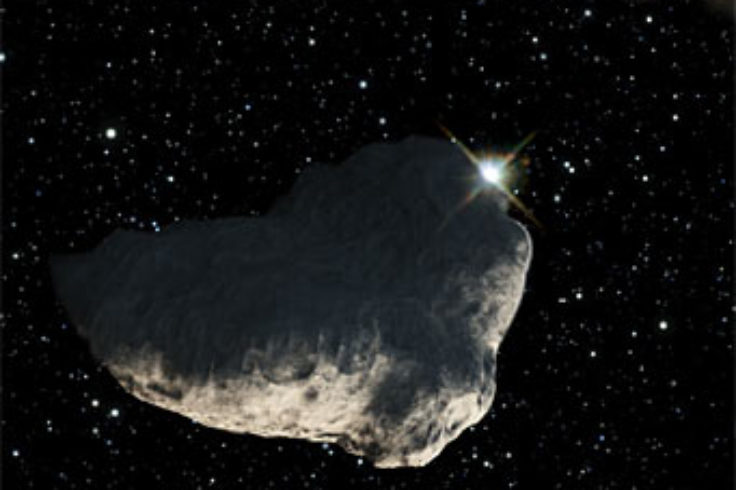 Asteroid occulting a star: artist's concept