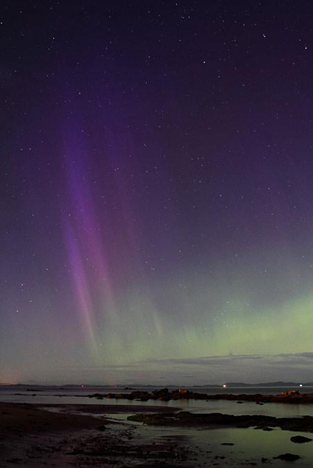 Aurora borealis August 26, 2015, over Moray Firth in Scotland