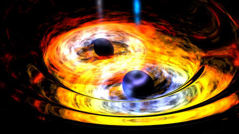 An artist's concept shows two merging black holes. NASA