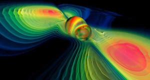 Two black holes coalesce in this still from a numerical simulation. MPI for Gravitational Physics / Werner Benger / ZIB