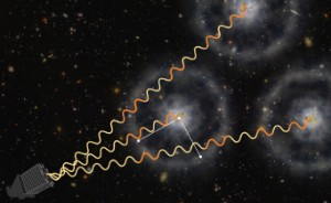 An artist's conception depicts how astronomers use quasars to map the structure in the early universe. Zosia Rostomian (Lawrence Berkeley National Laboratory) / Andreu Font-Ribera (Berkeley Lab)