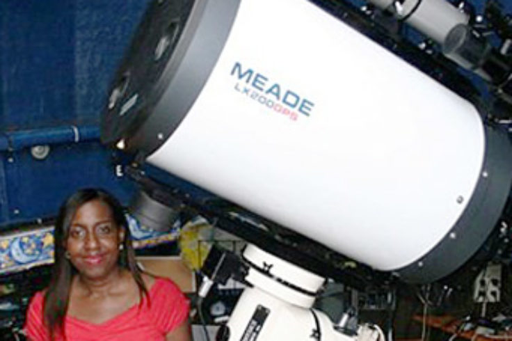 Discoverer Barbara Harris with her scope