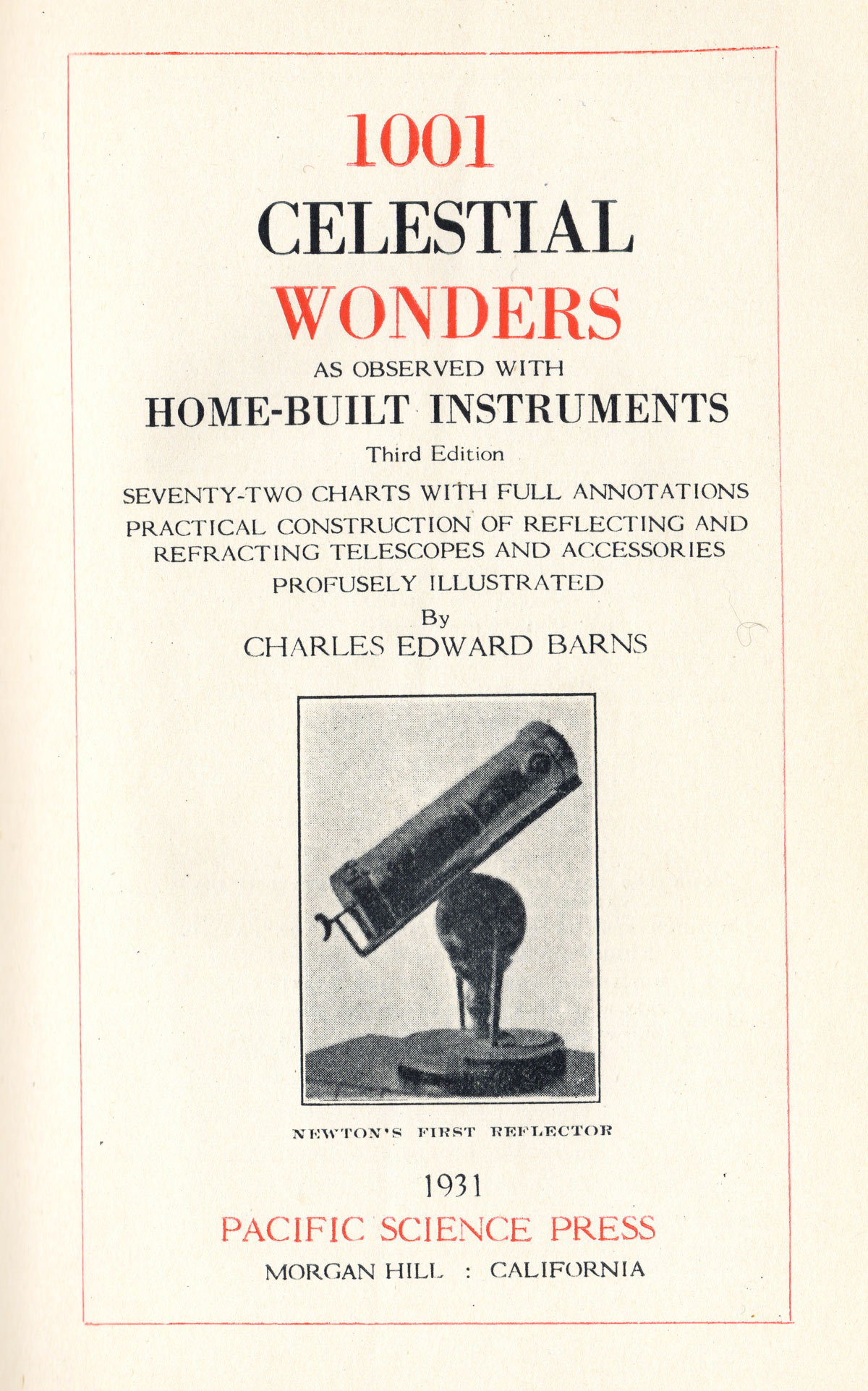 Title page of C. E. Barns's 1001 Celestial Wonders, 1931 edition.