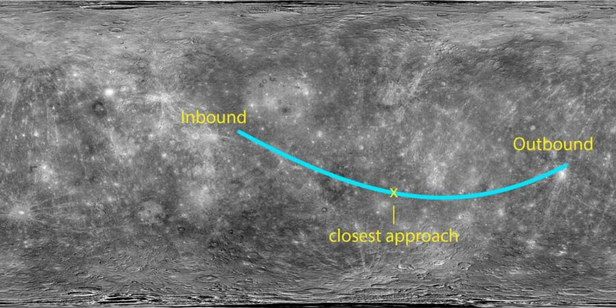 image of grey mercury surface with locations noted and a line showing the track of the flyby