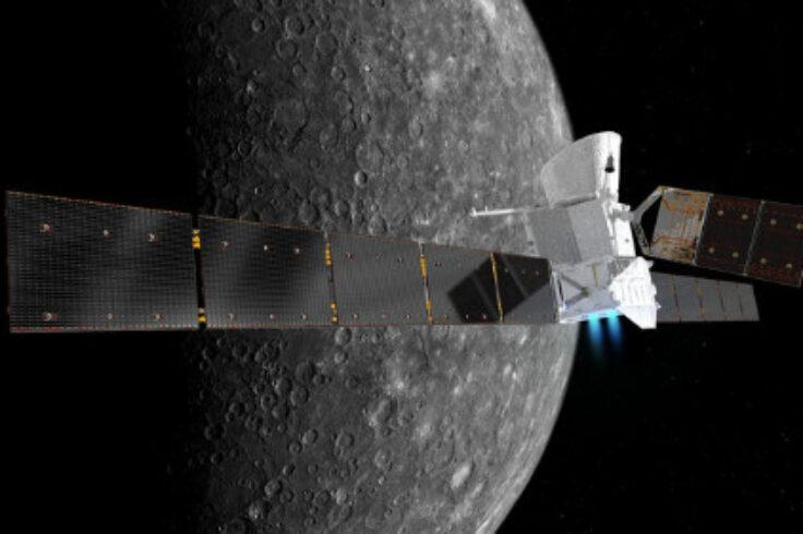 Illustration of BepiColumbo in front of Mercury