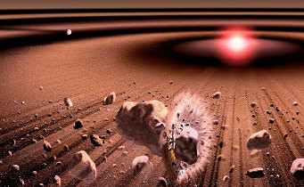 An artist's conception of the debris disk around Beta Pictoris.  Kouji Kanba / ISAS / JAXA