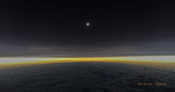 Total solar eclipse from eclipse flight