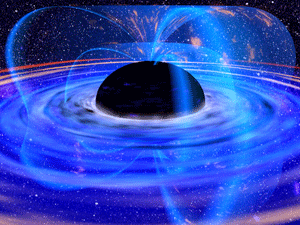 Black holes don't always swallow magnetic fields entirely. Sometimes, the loops stretch above and below the event horizon, seen here in this highly stylized illustration. But black holes may be able to swallow more loops when they spin the same way as their disks.