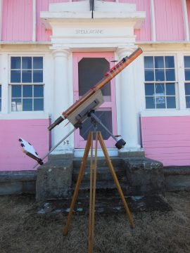 John Brigg built this solar telescope to observe and record sunspots. It's pictured in front of the Stellafane clubhouse of the Springfield Telescope Makers in Vermont. J. Briggs
