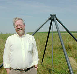 Harvey Butcher with a LOFAR antenna