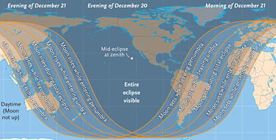Visibility of December's lunar eclipse