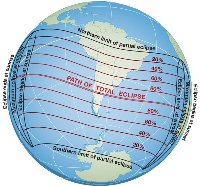 This globe shows the path of the solar eclipse on December 14, 2020.