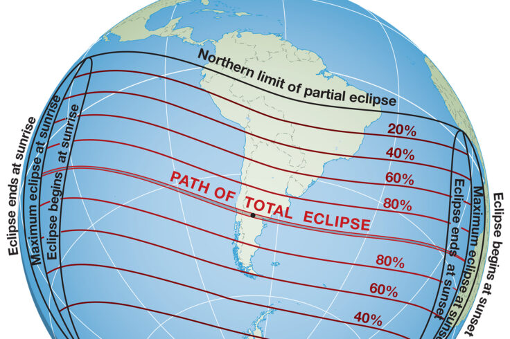 Path of the solar eclipse on December 14, 2020.
