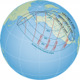 Diagram of visibility for partial solar eclipse, October 23, 2014
