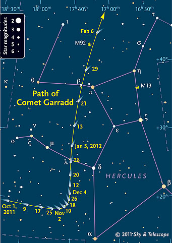 Path of Comet Garradd Oct 2011 - Jan 2012
