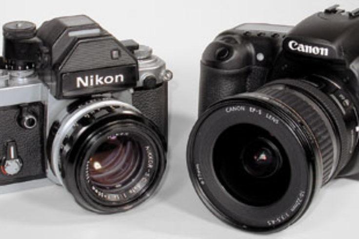 SLRs: film (left) and digital (right)