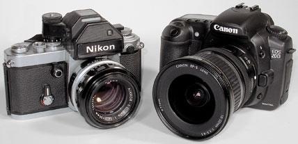 SLRs: film (left) and digital (right)</em srcset=