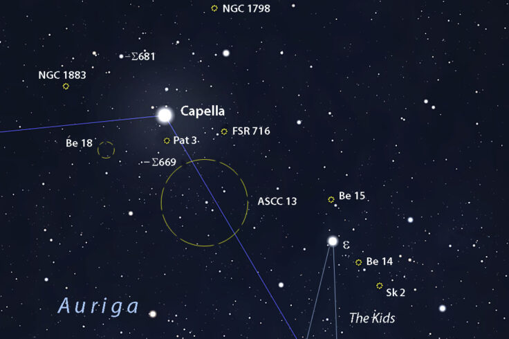 Deep-sky map Capella region