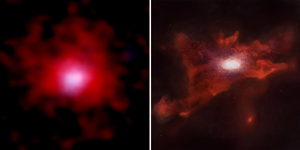 Young galaxy surrounded by carbon cloud
