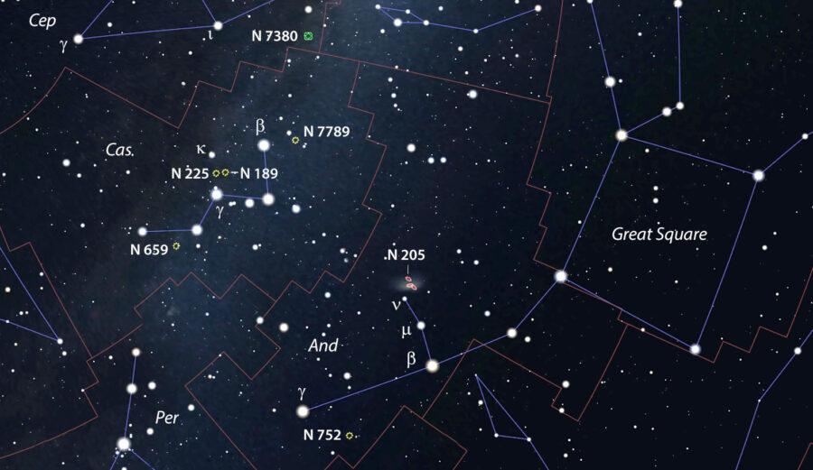 Caroline Herschel's objects near Cassiopeia