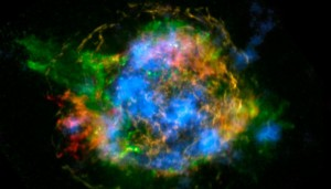 In this image, NuSTAR data, which show high-energy X-rays from radioactive material, are colored blue. Lower-energy X-rays from non-radioactive material, imaged previously with NASA's Chandra X-ray Observatory, are shown in red, yellow and green. NASA/JPL-Caltech/CXC/SAO