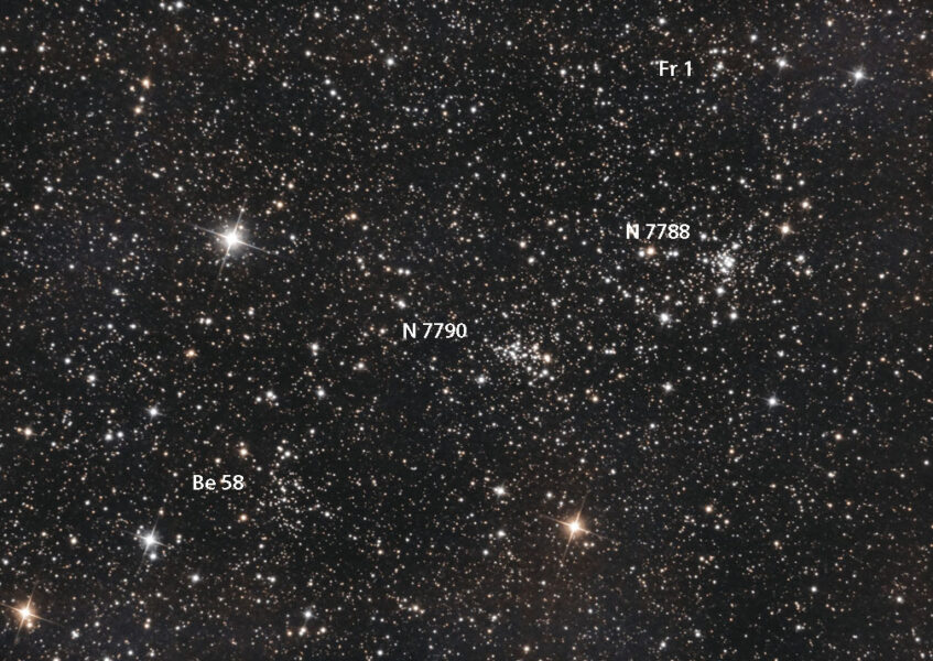 Cluster quad — NGC 7788, 7789, Frolov 1 and Be 58