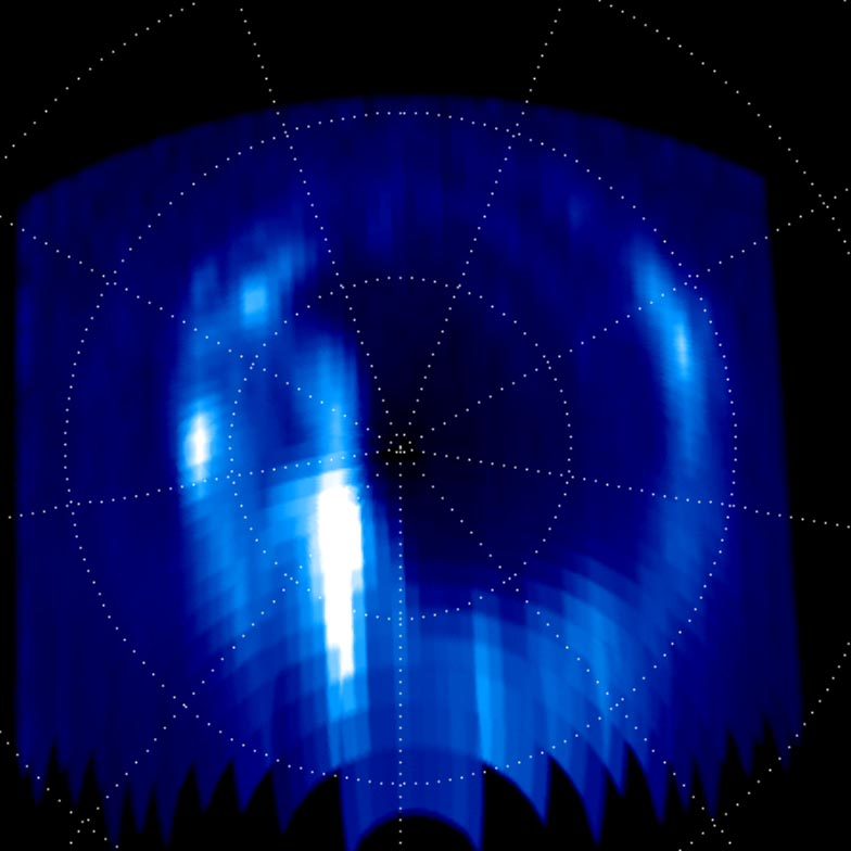 Aurora display at Saturn's north pole