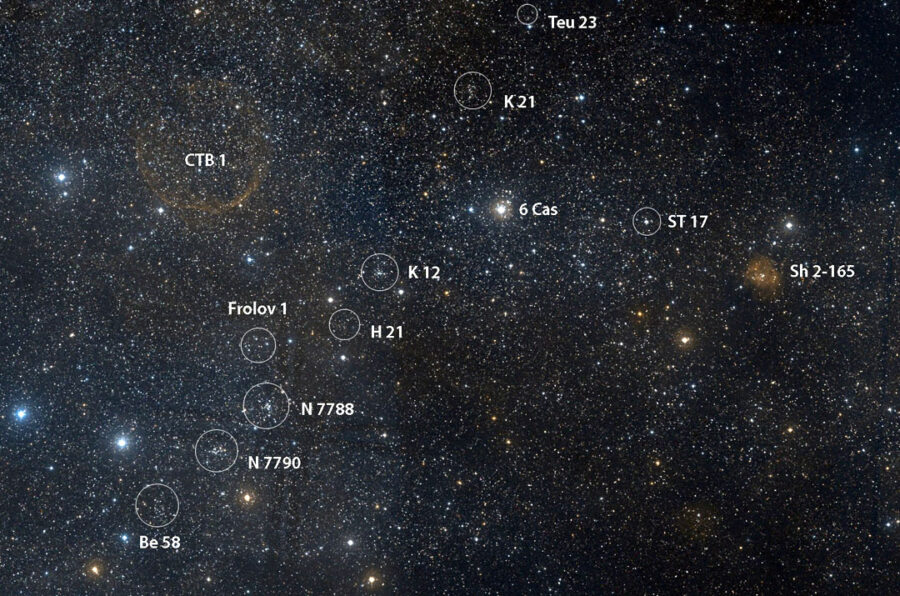 Open clusters in Cassiopeia