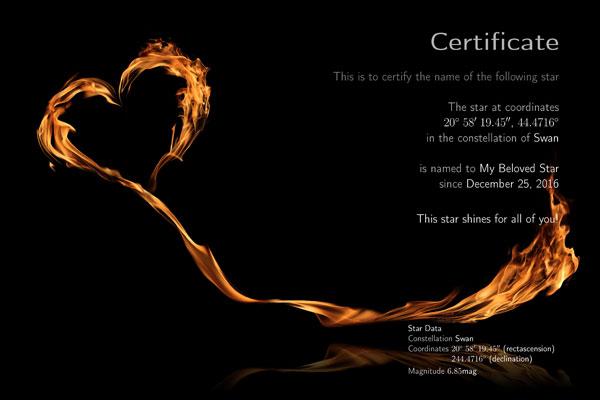 """Name a star"" certificate"