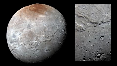 Charon color globe and inset