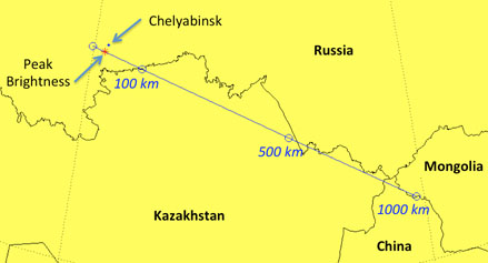 Ground track of the Chebarkul meteoroid