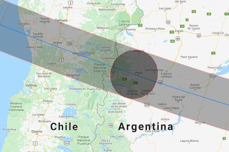 Chile-Argentina eclipse path in 2020