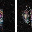 Two composite images of Circinus X-1 and background stars. The low, medium, and high-energy X-rays captured by the Chandra X-Ray Observatory are shown in red, green, and blue, respectively. The background stars in this composite image come from visible-light Digitized Sky Survey images. The right image highlights the four X-ray rings. NASA/CXC/Univ. of Wisconsin-Madison/S.Heinz et al.